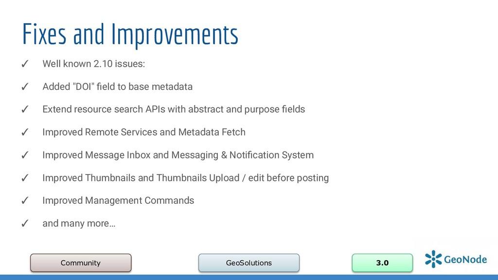 Fixes and Improvements Community GeoSolutions 3...