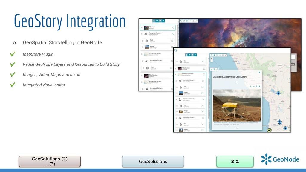 GeoStory Integration GeoSolutions (?) … (?) Geo...