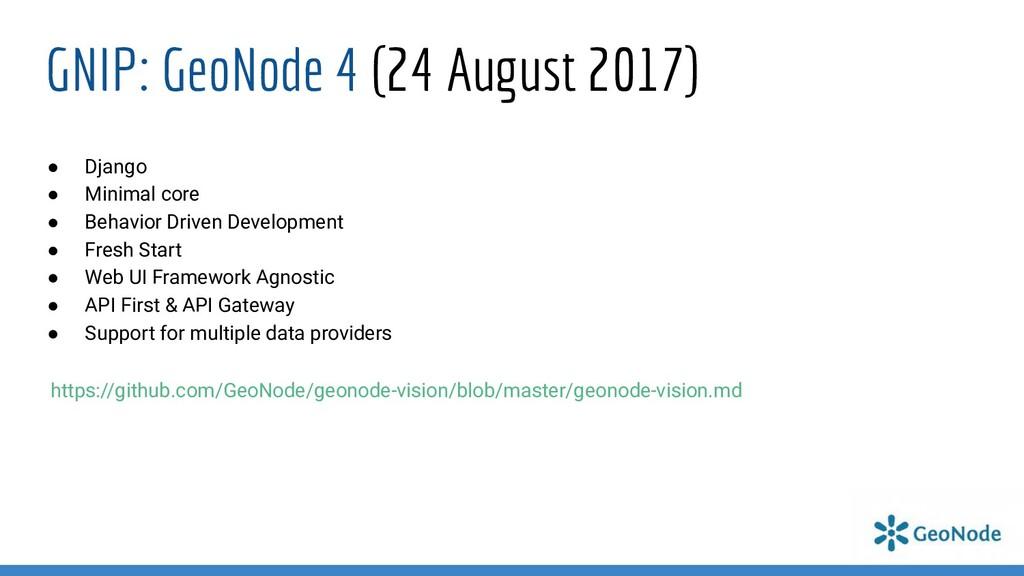 GNIP: GeoNode 4 (24 August 2017) ● Django ● Min...