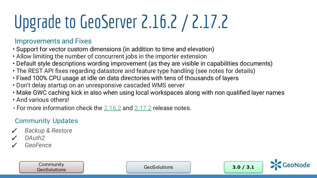 Upgrade to GeoServer 2.16.2 / 2.17.2 Community ...
