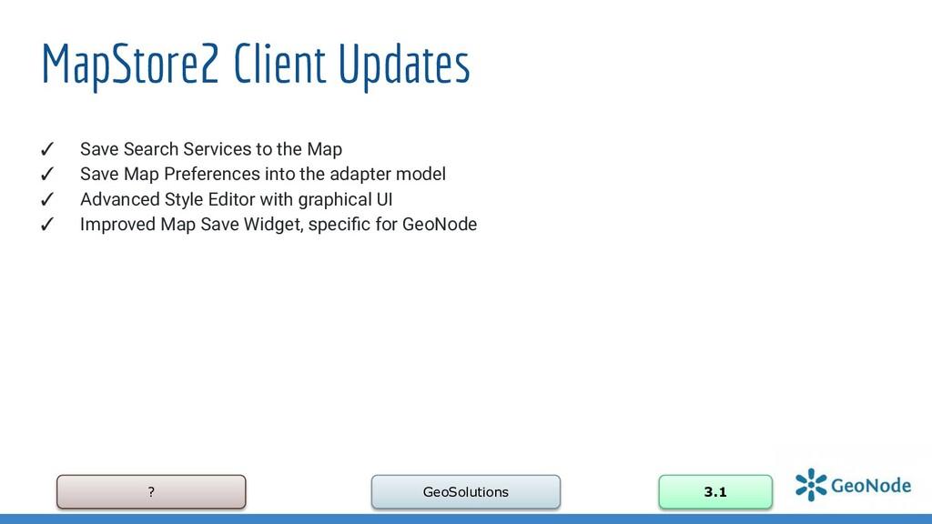 ? GeoSolutions 3.1 MapStore2 Client Updates ✓ S...