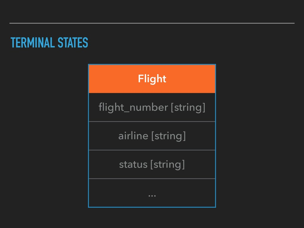 TERMINAL STATES Flight flight_number [string] ai...