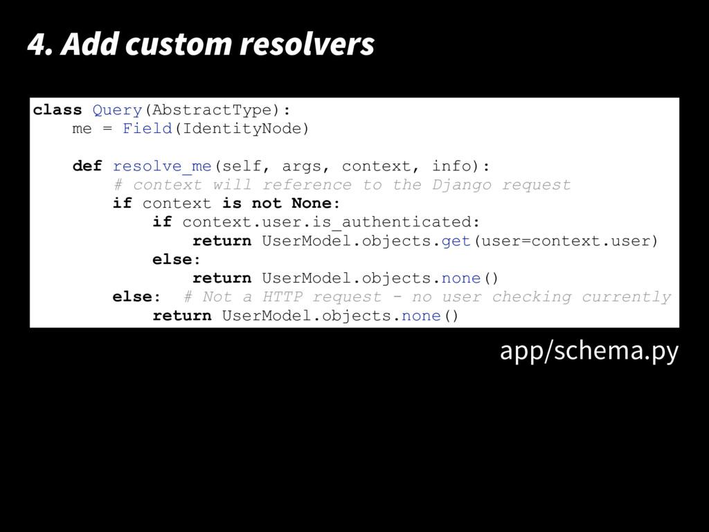 print 'hello world!' 4. Add custom resolvers cl...