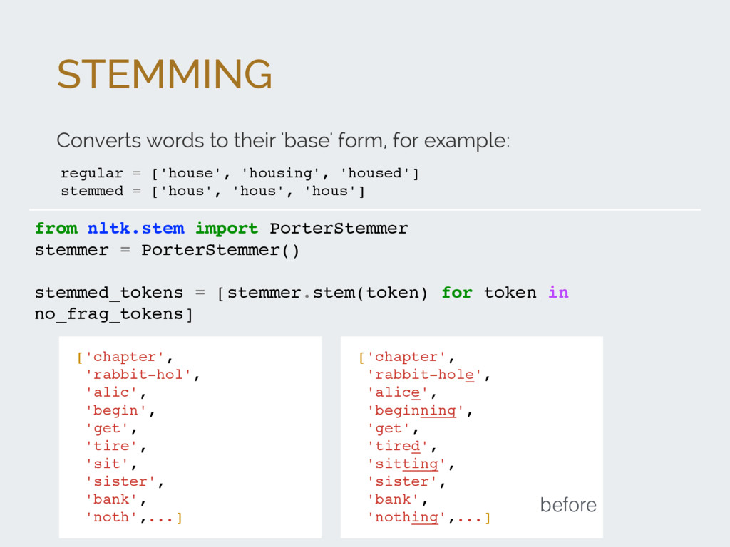 STEMMING Converts words to their 'base' form, f...