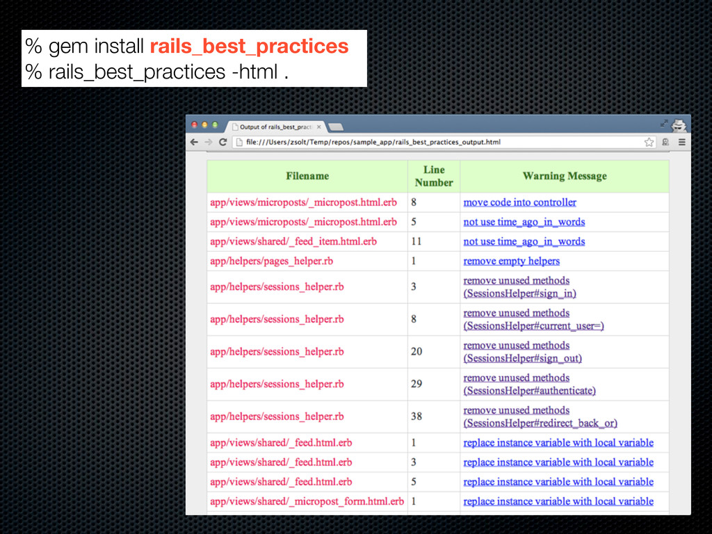 % gem install rails_best_practices % rails_best...