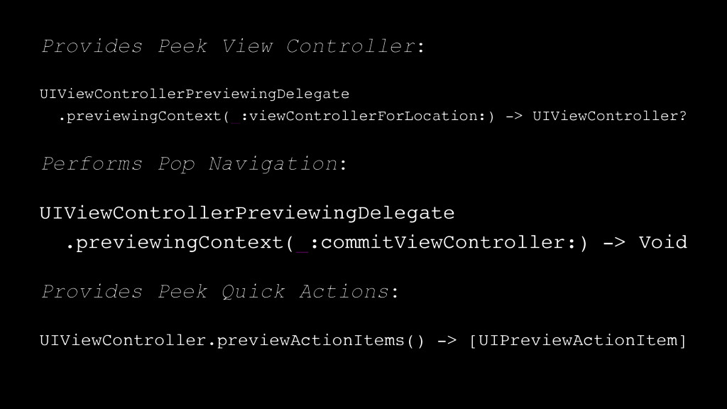 Provides Peek View Controller: UIViewController...