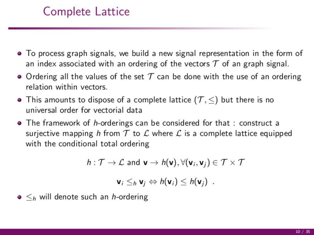 Complete Lattice To process graph signals, we b...