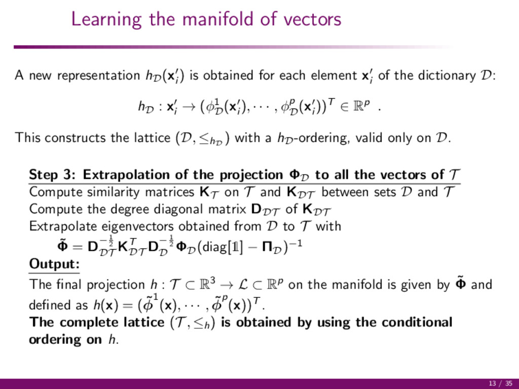 Learning the manifold of vectors A new represen...
