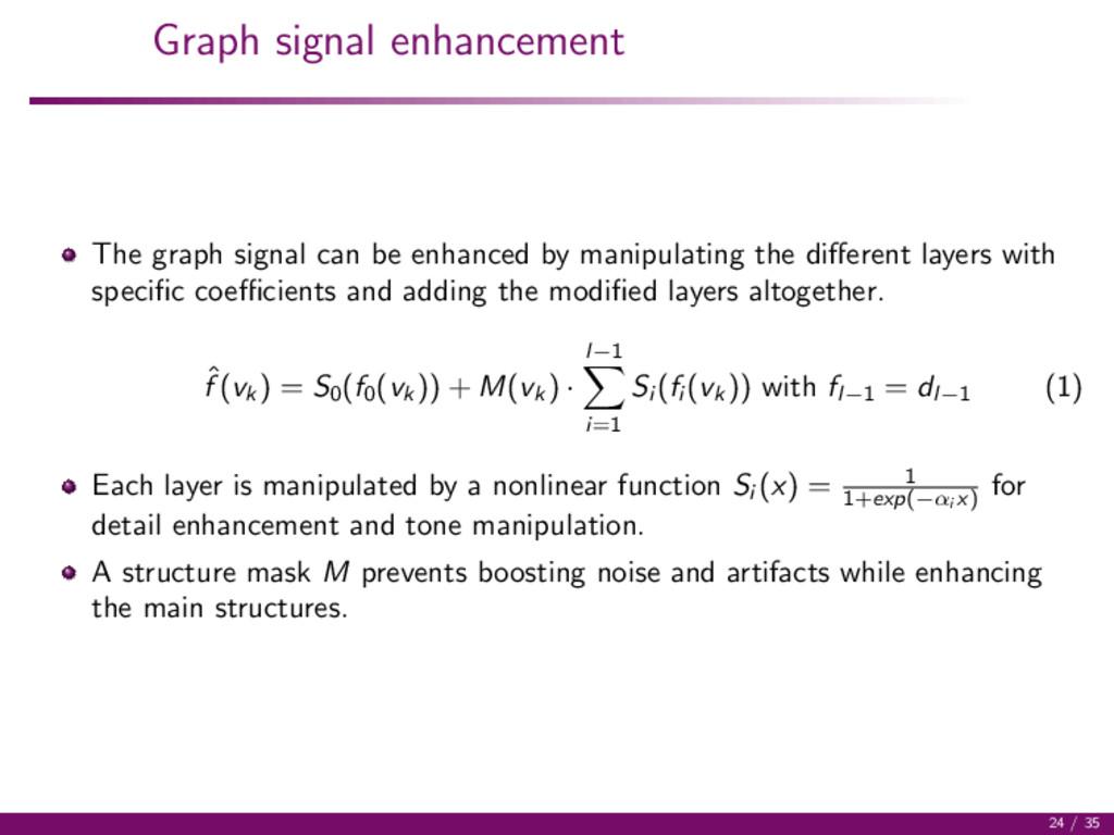 Graph signal enhancement The graph signal can b...