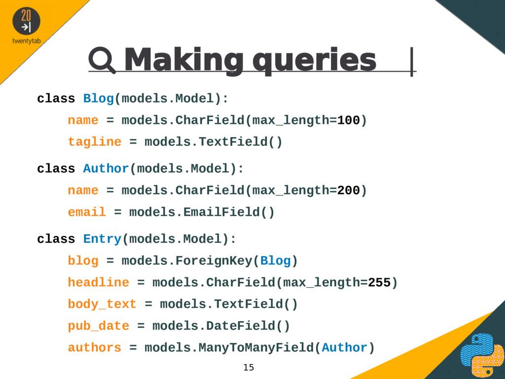  Making queries | class Blog(models.Model): na...