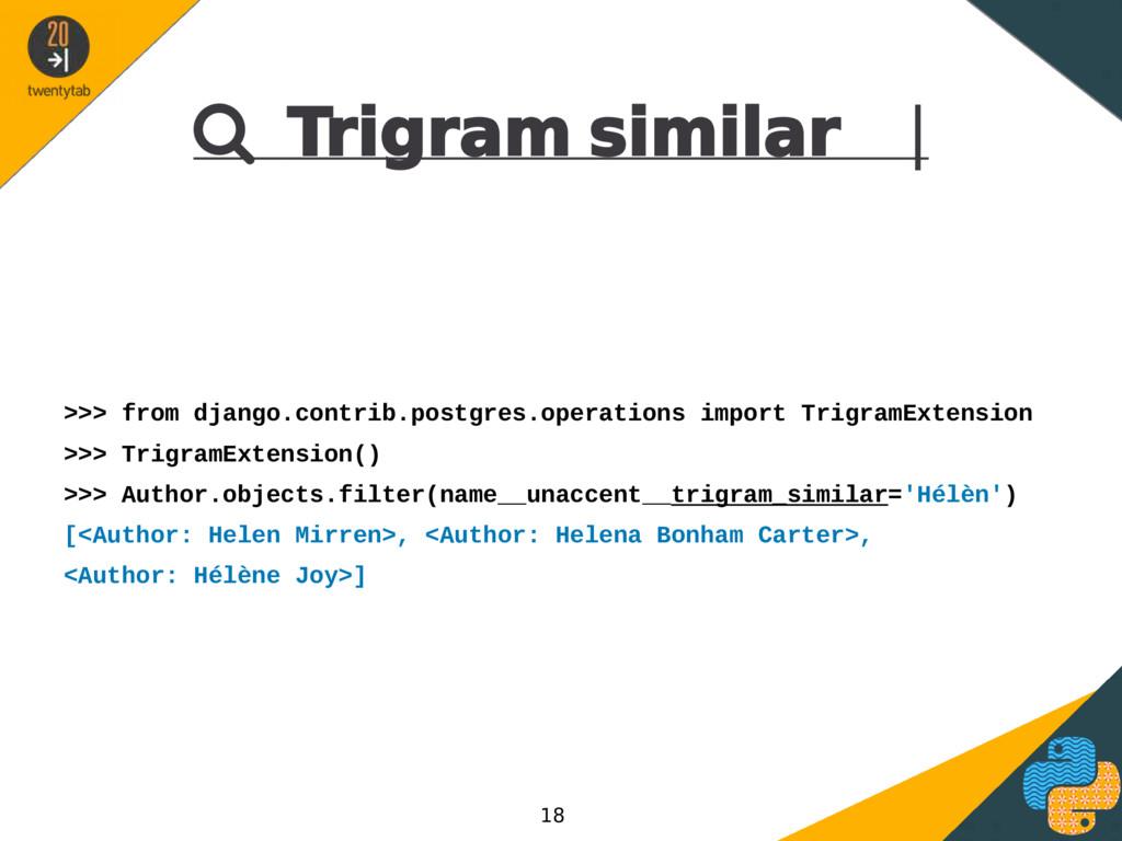  Trigram similar | >>> from django.contrib.pos...
