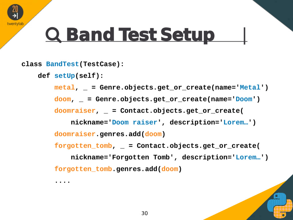  Band Test Setup | class BandTest(TestCase): d...