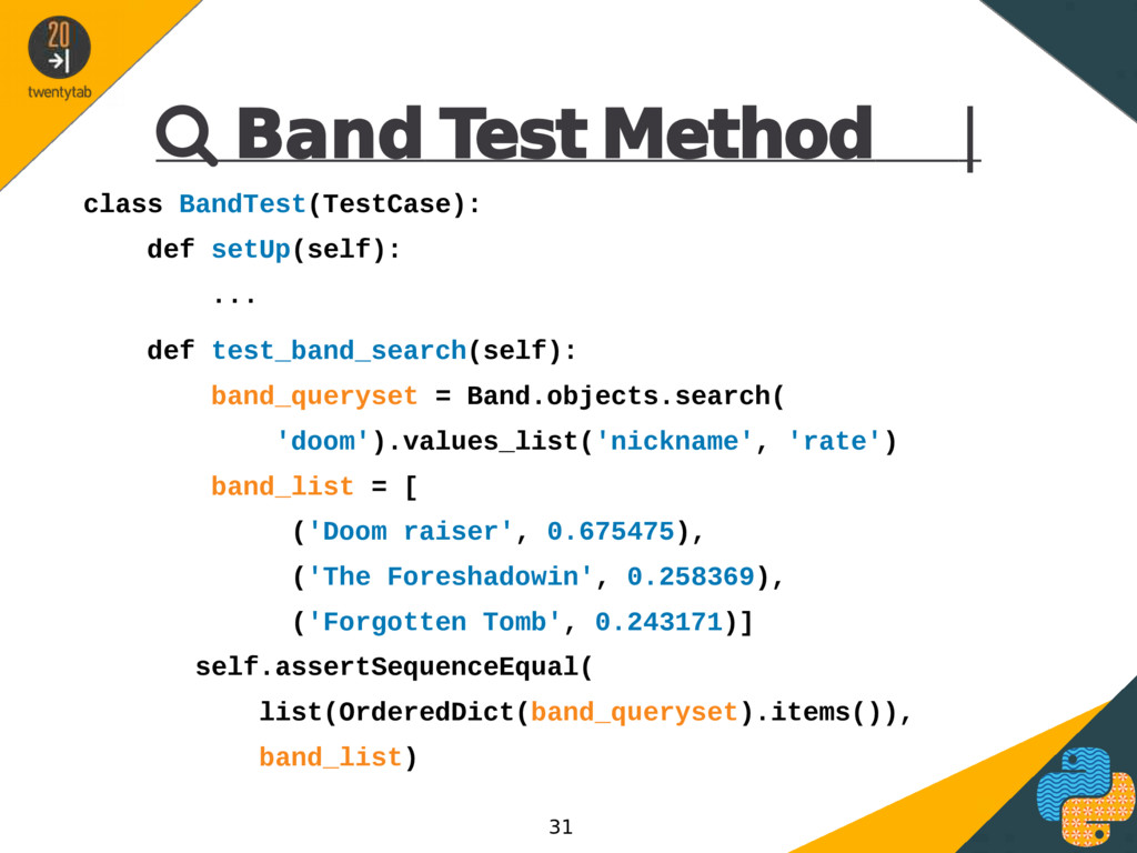  Band Test Method | class BandTest(TestCase): ...