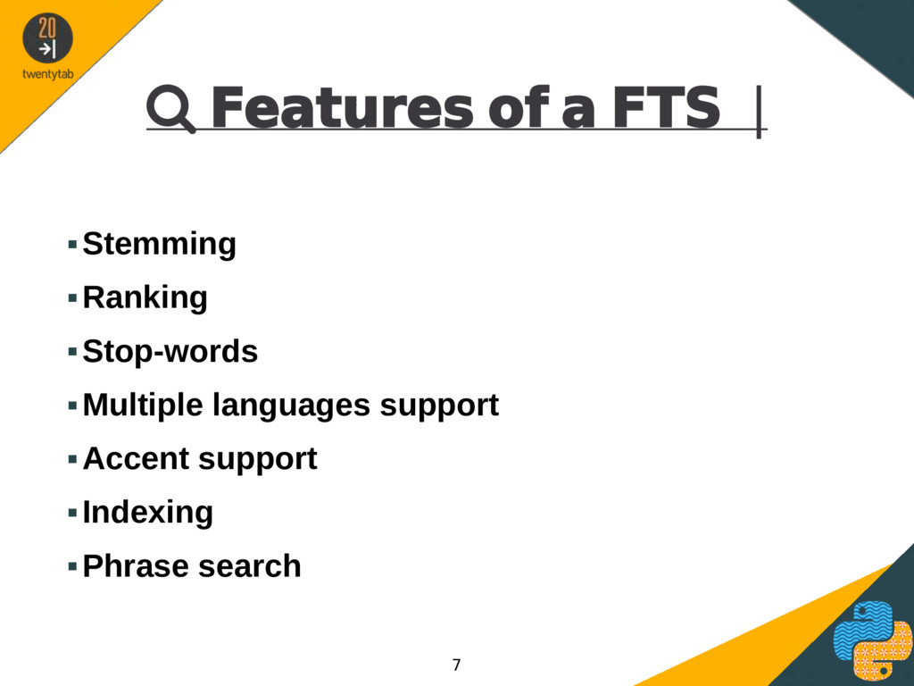  Features of a FTS | ▪Stemming ▪Ranking ▪Stop-...