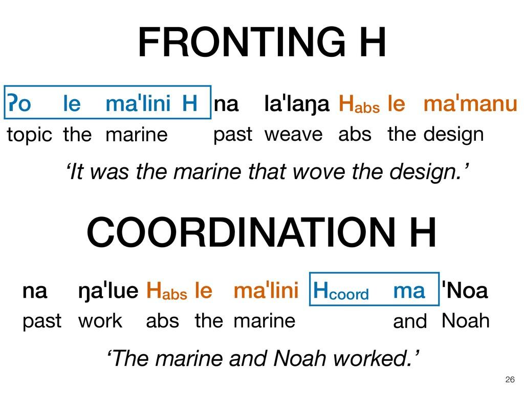 FRONTING H !26 ʔo le maˈlini H na laˈlaŋa Habs ...