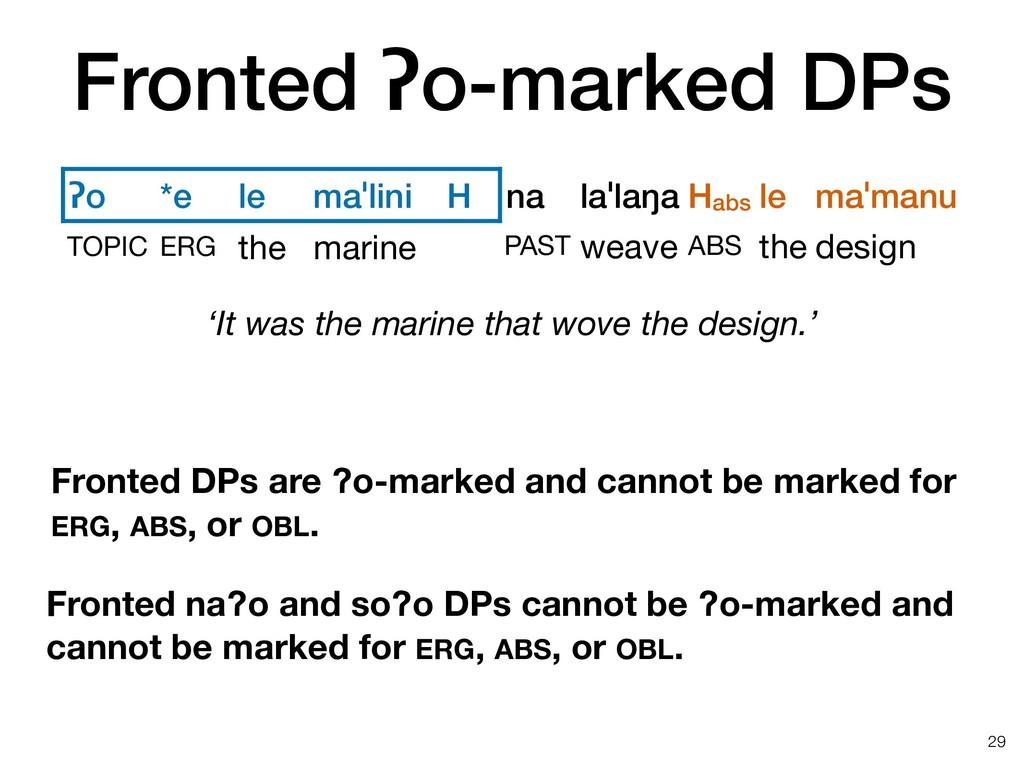 Fronted ʔo-marked DPs !29 ʔo *e le maˈlini H na...