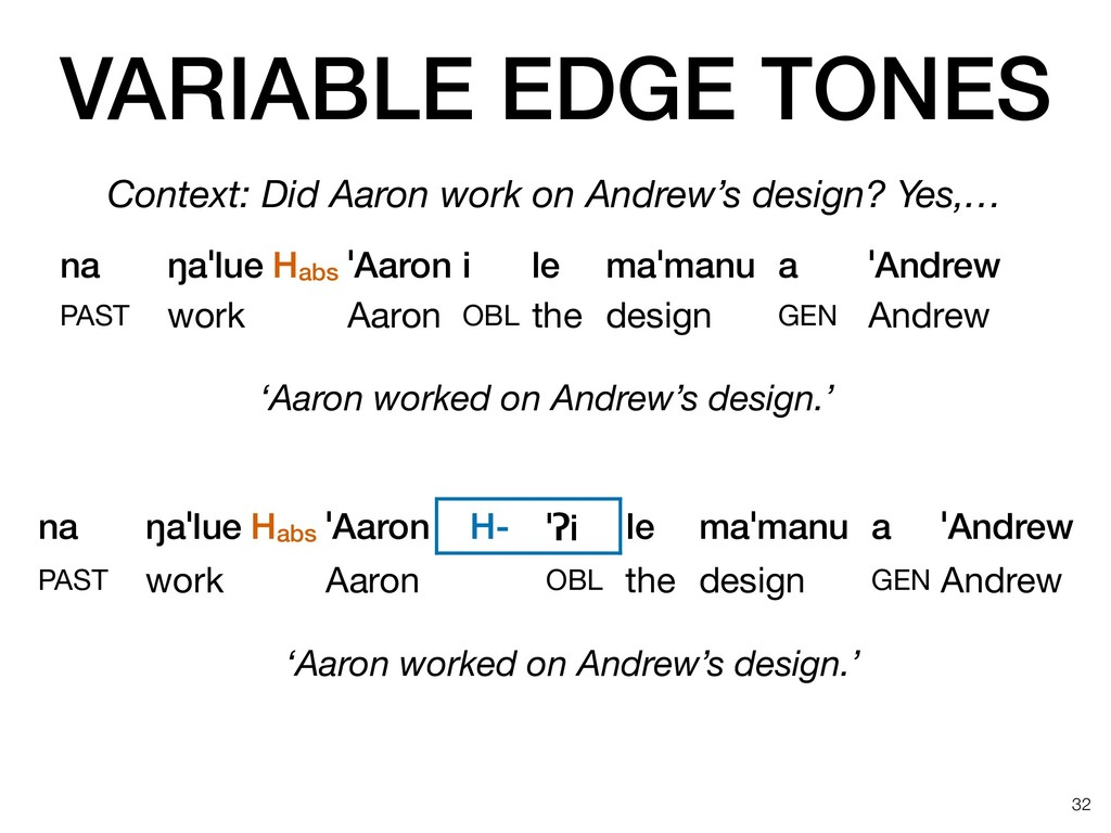 VARIABLE EDGE TONES !32 na ŋaˈlue Habs ˈAaron i...