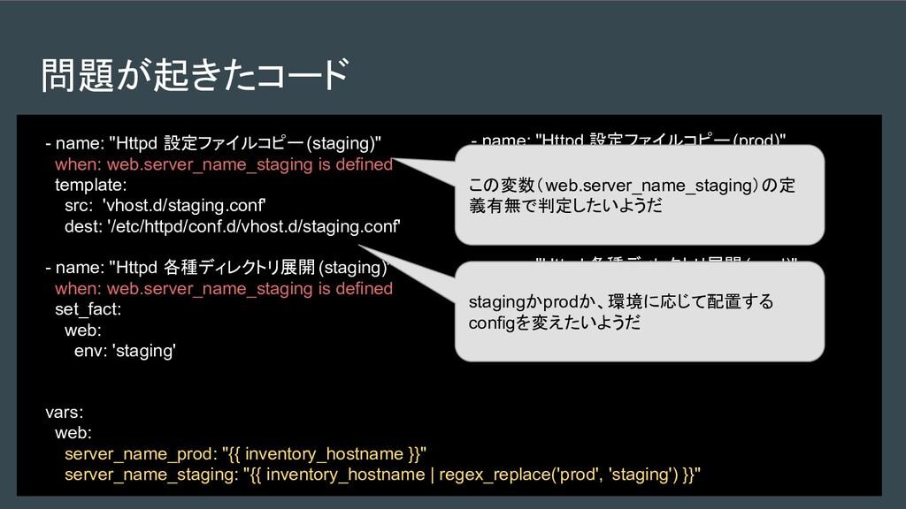 """問題が起きたコード - name: """"Httpd 設定ファイルコピー(staging)"""" wh..."""