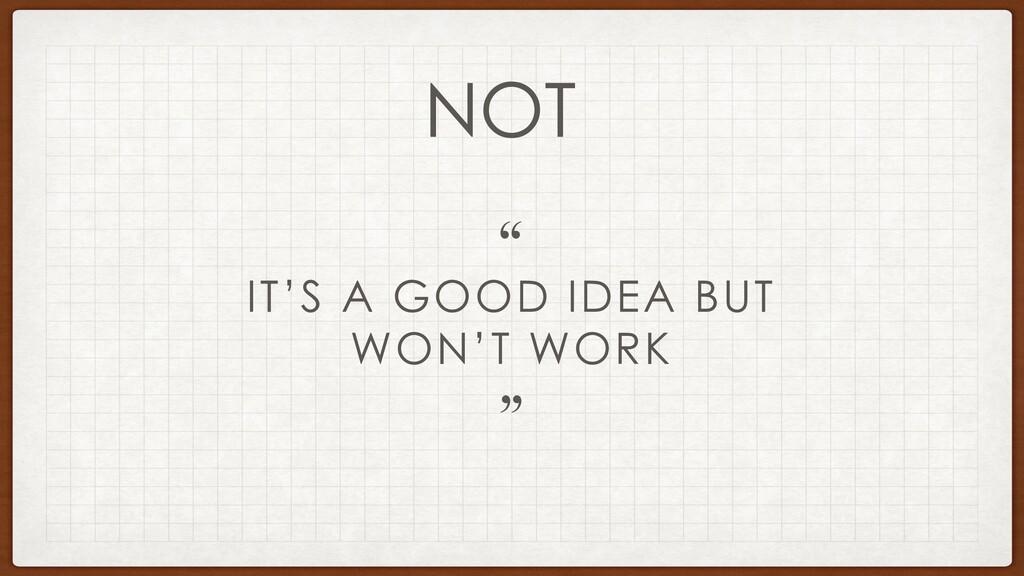 "IT'S A GOOD IDEA BUT WON'T WORK "" "" NOT"