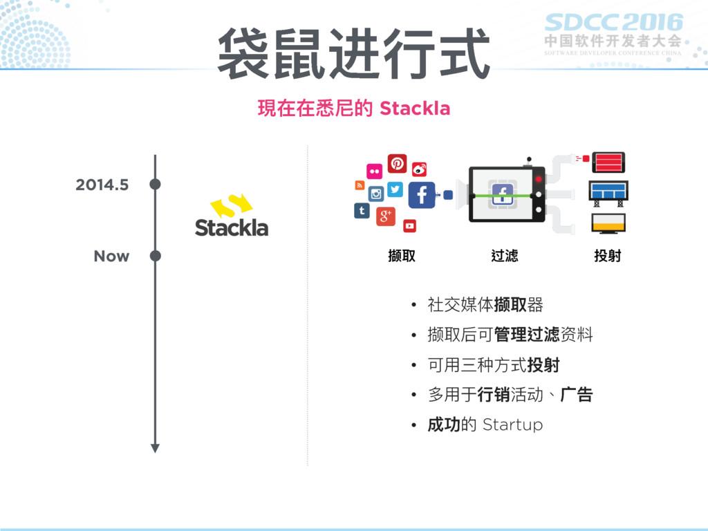 袋鼠进⾏行行式 現在在悉尼的 Stackla 2014.5 Now • 社交媒体撷取器 • 撷...
