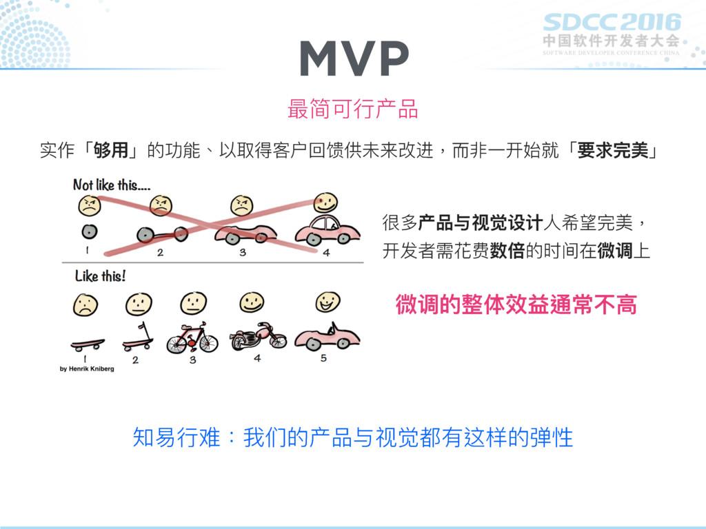 MVP 最简可⾏行行产品 实作「够⽤用」的功能、以取得客户回馈供未来改进,⽽而非⼀一开始就「要...