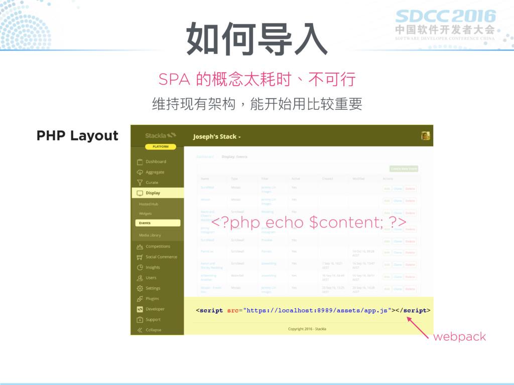 如何导入 SPA 的概念念太耗时、不可⾏行行 <?php echo $content; ?> ...