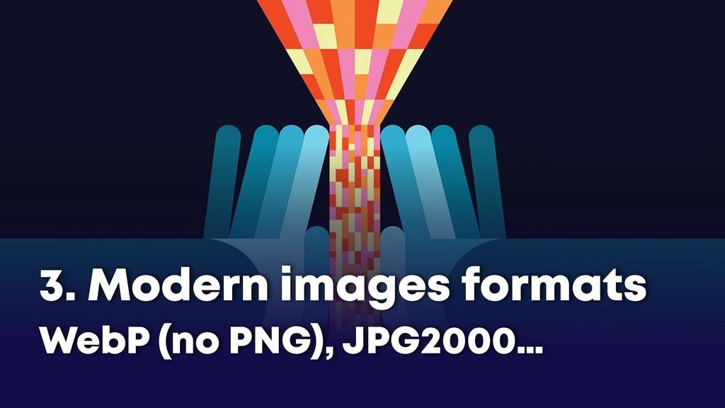 3. Modern images formats WebP (no PNG), JPG2000…