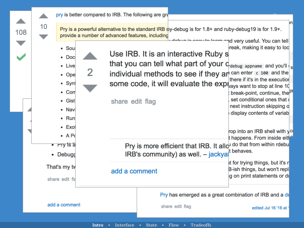 Use pry Use the ruby debugger Intro • Interface...