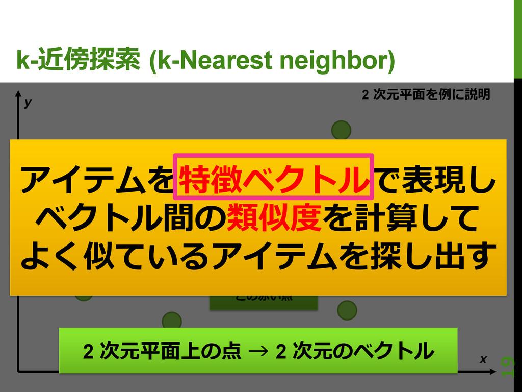 2 次元平⾯面を例例に説明 k-近傍探索索 (k-Nearest neighbor) x ...