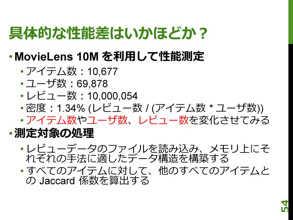 具体的な性能差はいかほどか? •MovieLens 10M を利利⽤用して性能測定 •アイ...