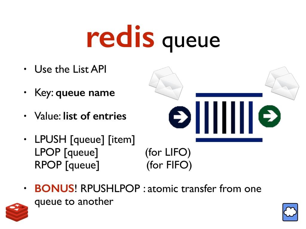redis queue • Use the List API • Key: queue nam...