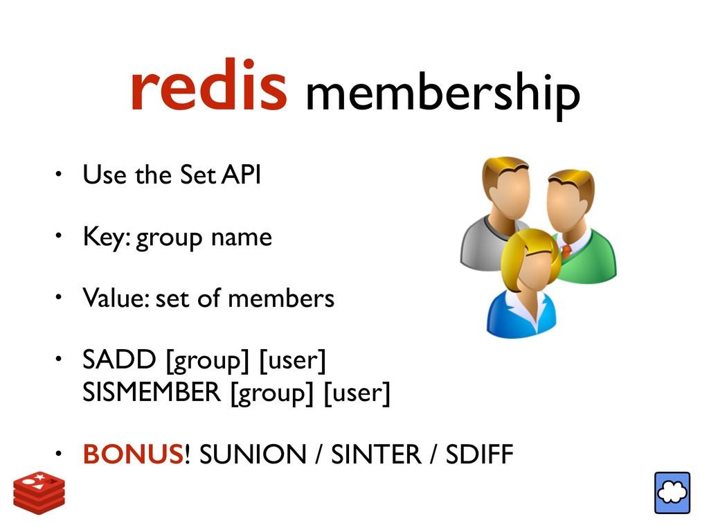 redis membership • Use the Set API • Key: group...