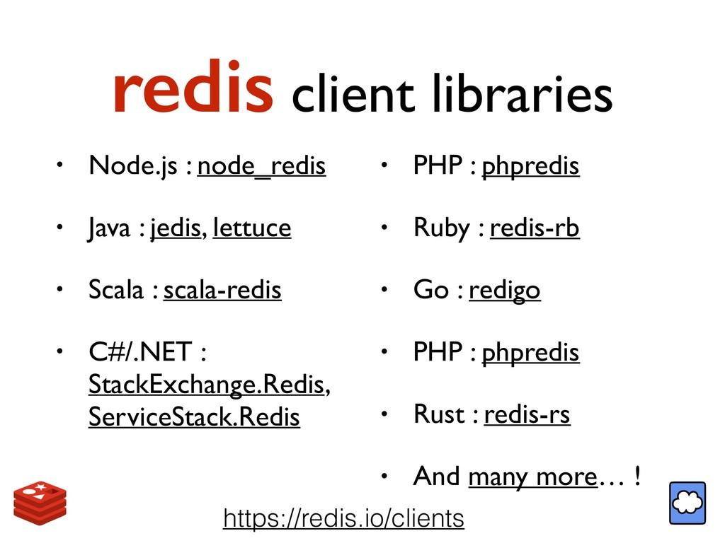 redis client libraries • Node.js : node_redis •...