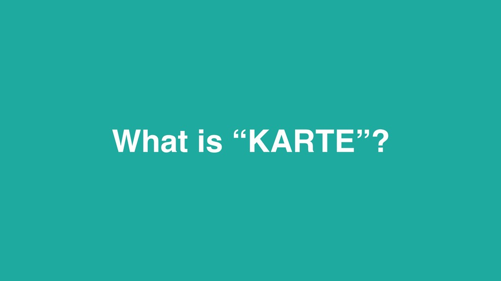 """What is """"KARTE""""?"""