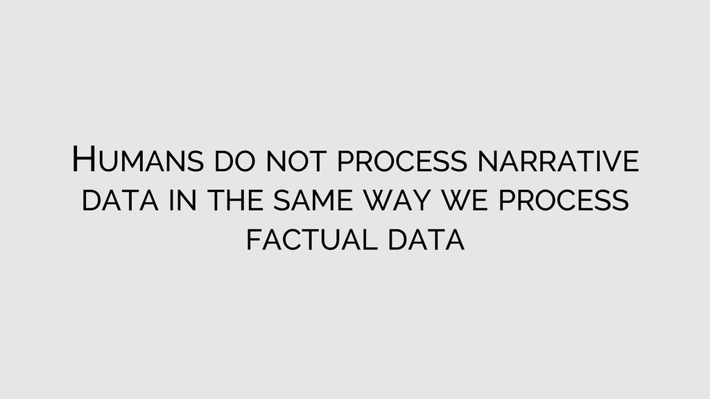HUMANS DO NOT PROCESS NARRATIVE DATA IN THE SAM...