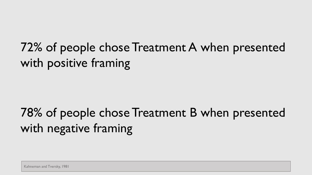 72% of people chose Treatment A when presented ...