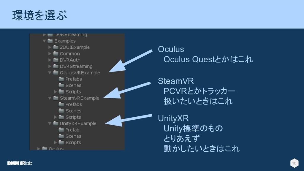 10 環境を選ぶ Oculus  Oculus Questとかはこれ SteamVR  PCV...