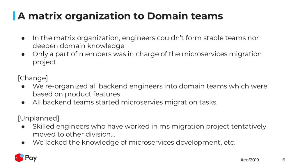 #eof2019 6 A matrix organization to Domain team...