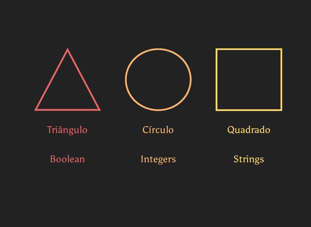 Triângulo Círculo Quadrado Boolean Integers Str...