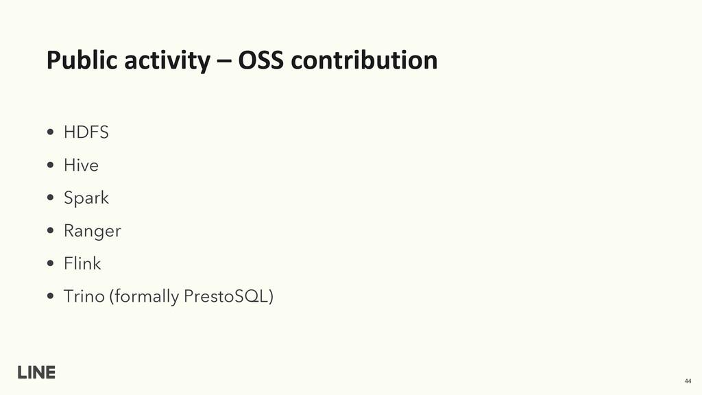 Public activity – OSS contribution • HDFS • Hiv...