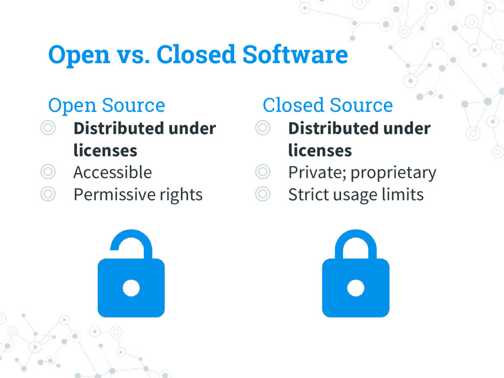 Open vs. Closed Software Open Source ◎ Distribu...