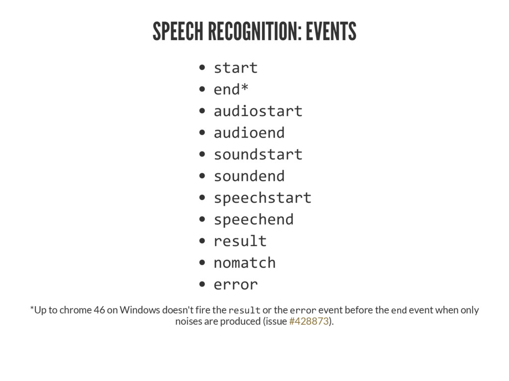 "SPEECH RECOGNITION: EVENTS •–ƒ""– ‡†Ƌ ƒ—†‹'•–ƒ""..."