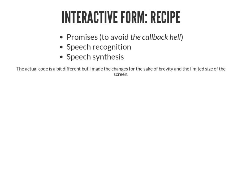 INTERACTIVE FORM: RECIPE Promises (to avoid the...