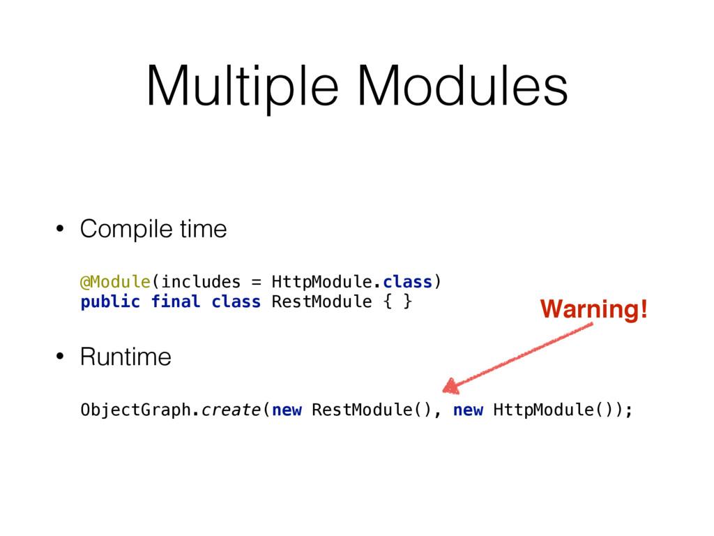 Multiple Modules • Compile time @Module(include...