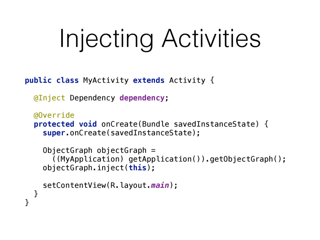 Injecting Activities public class MyActivity ex...