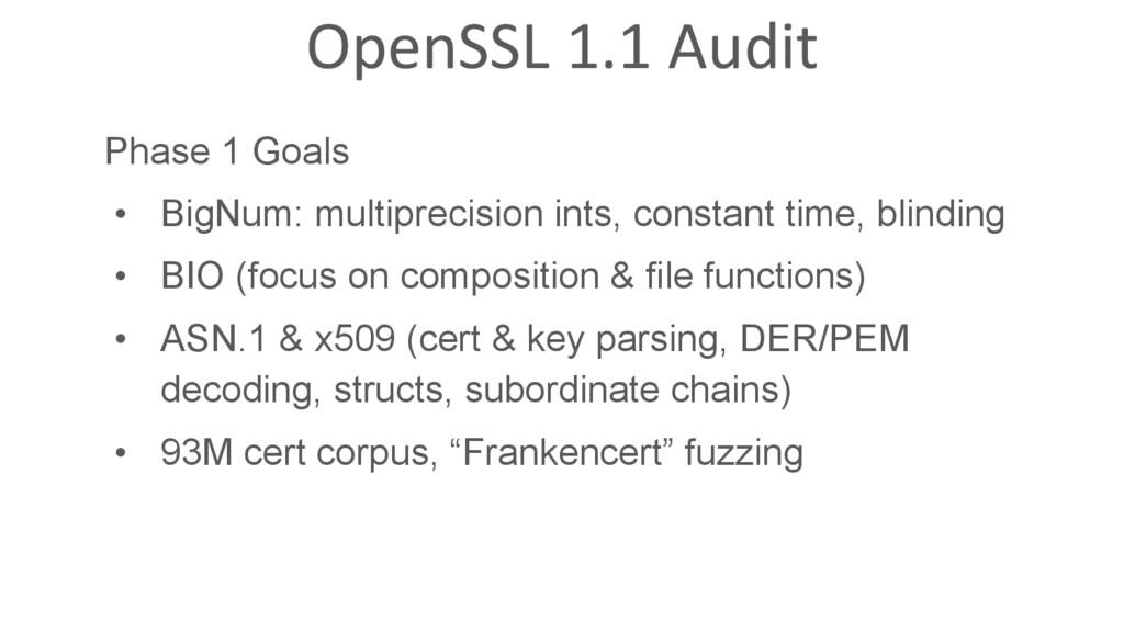 OpenSSL 1.1 Audit Phase 1 Goals • BigNum: mult...