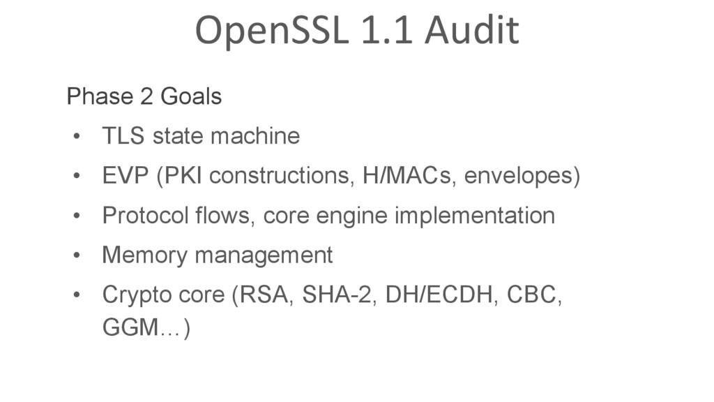 OpenSSL 1.1 Audit Phase 2 Goals • TLS state ma...