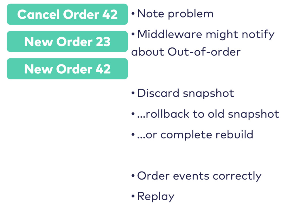 Cancel Order 42 • Note problem • Middleware mig...