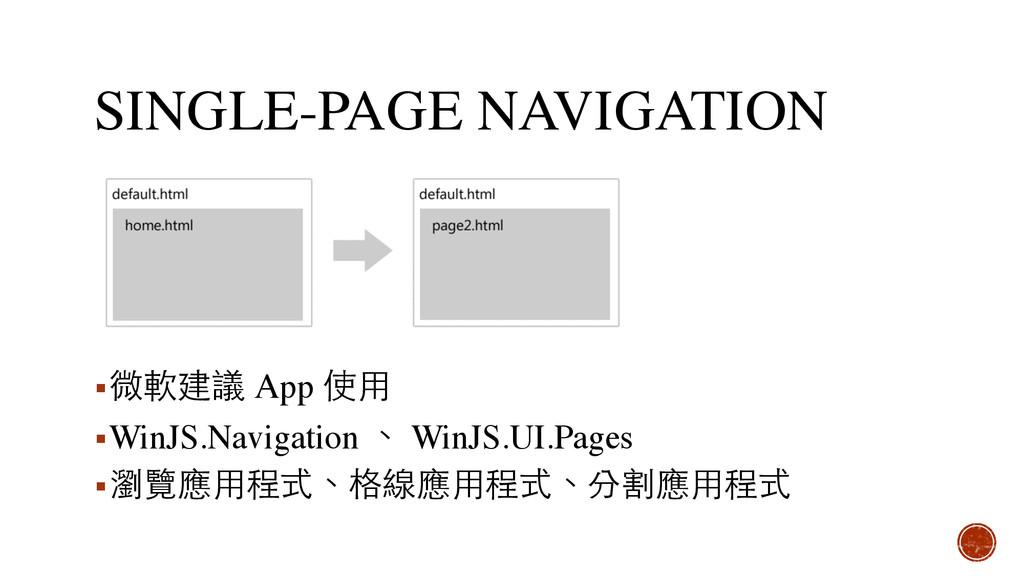 SINGLE-PAGE NAVIGATION ▪微軟建議 App 使⽤用 ▪WinJS.Nav...