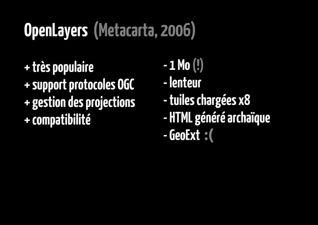 OpenLayers (Metacarta, 2006) + très populaire +...